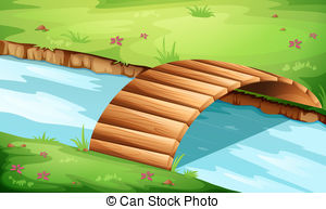 Wooden Bridge At The River   Illustration Of A Wooden
