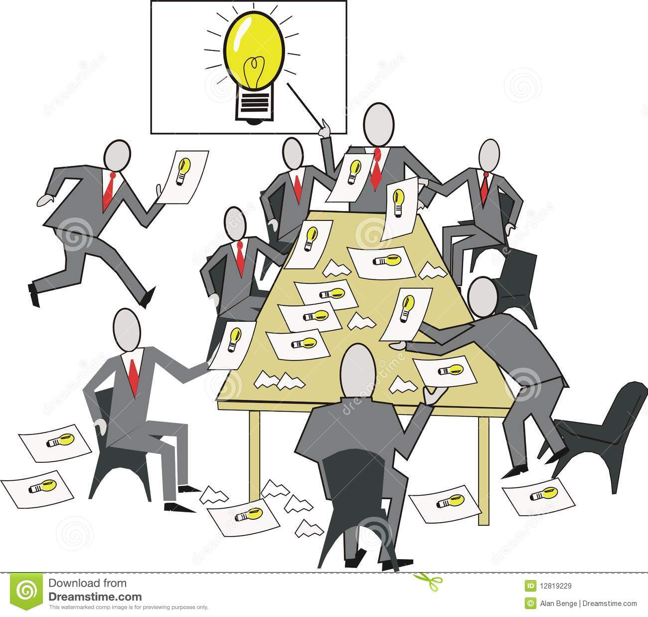 Cartoon Of Business Meeting With Team Producing Ideas During