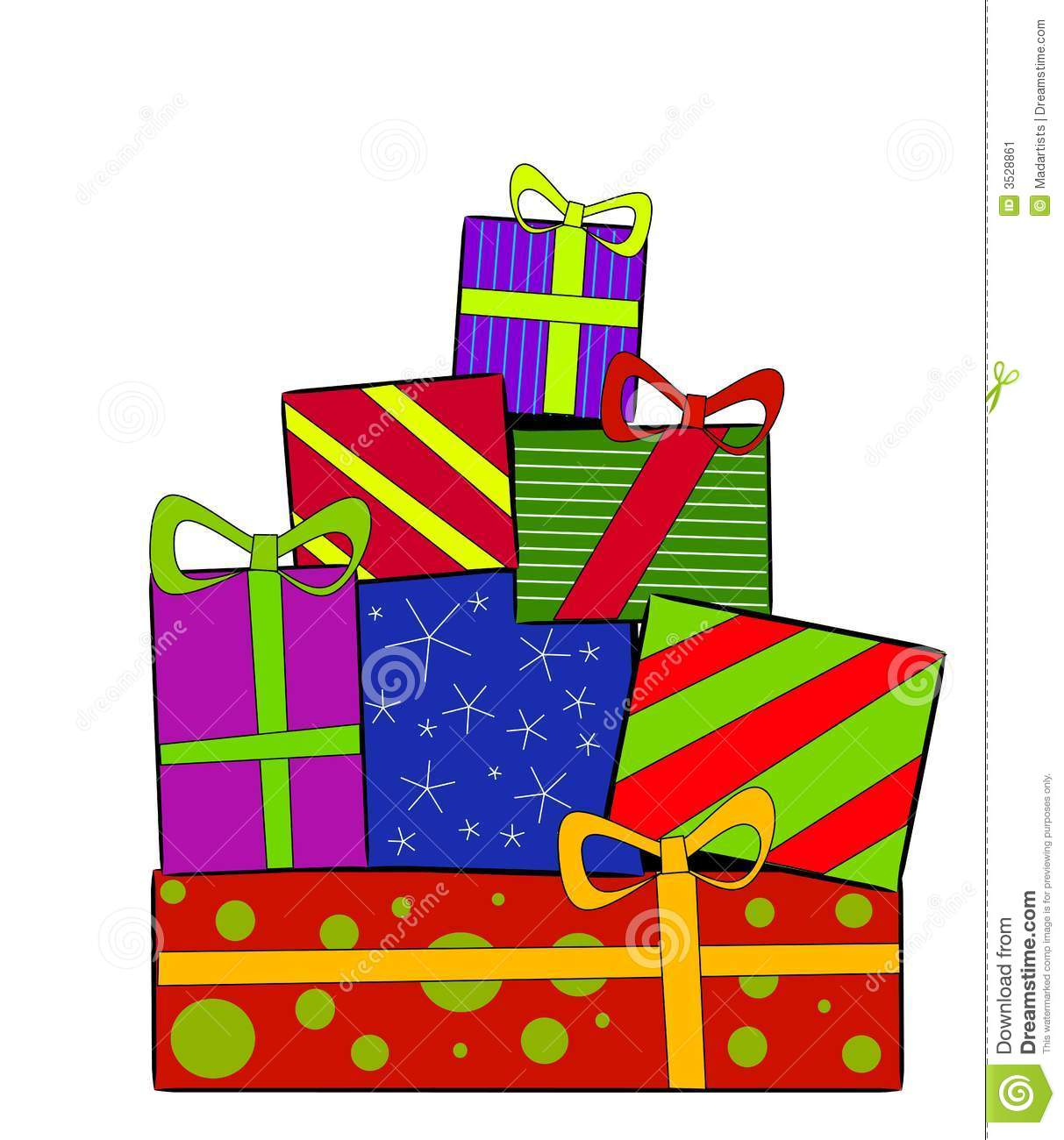 Clip Art Illustration Of A Pile Of Christmas Gifts And Presents