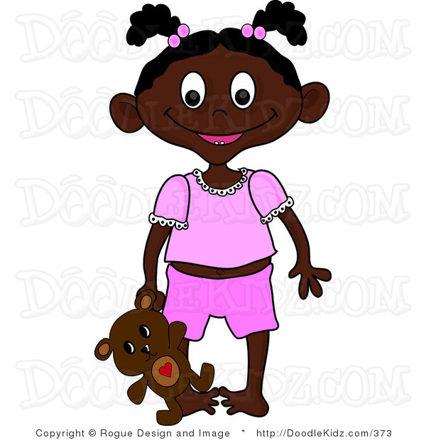 Clip Art Illustration Of An African American Girl Toddler Holding Her