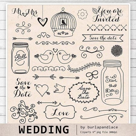 Creativemarket Rustic Wedding Clipart Ii  26178   All Design Template