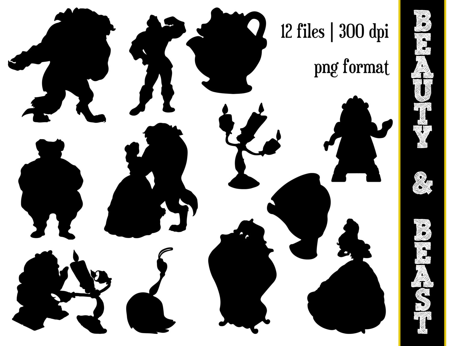 Disney Mickey Silhouettes Beauty   The Beast Silhouettes