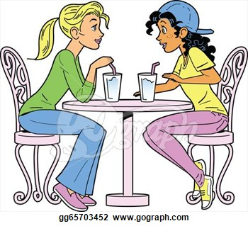 Drawing   Girlfriends Having A Drink  Clipart Drawing Gg65703452