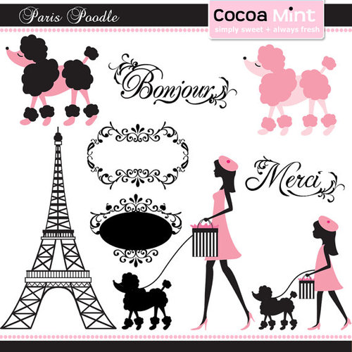 Paris Poodle Clip Art By Cocoamint On Etsy   We Heart It