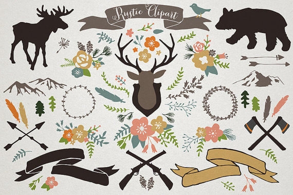 Rustic Mountain Lodge Clipart   Rustic Wedding Woodland Clipart