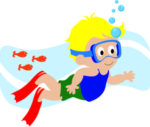 Swimming Clipart Image   Child Swimming Underwater With Scuba Mask