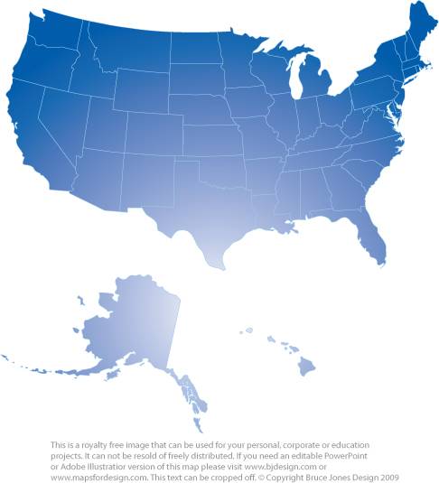 Usa State Map Blue Royalty Free Printable Blank Jpg Map