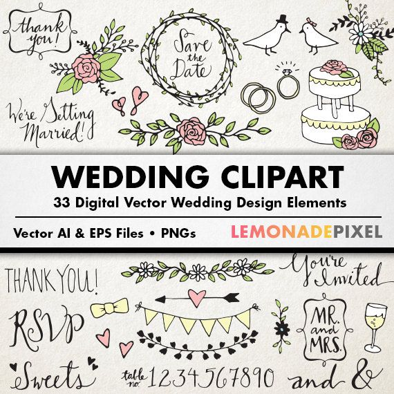 Wedding Clipart   Hand Drawn Clip Art Rustic Wedding Elements Weddi