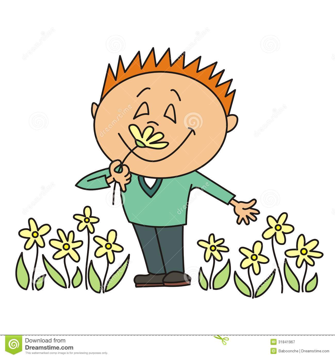 Boy Smelling A Flower Royalty Free Stock Photography   Image  31841967