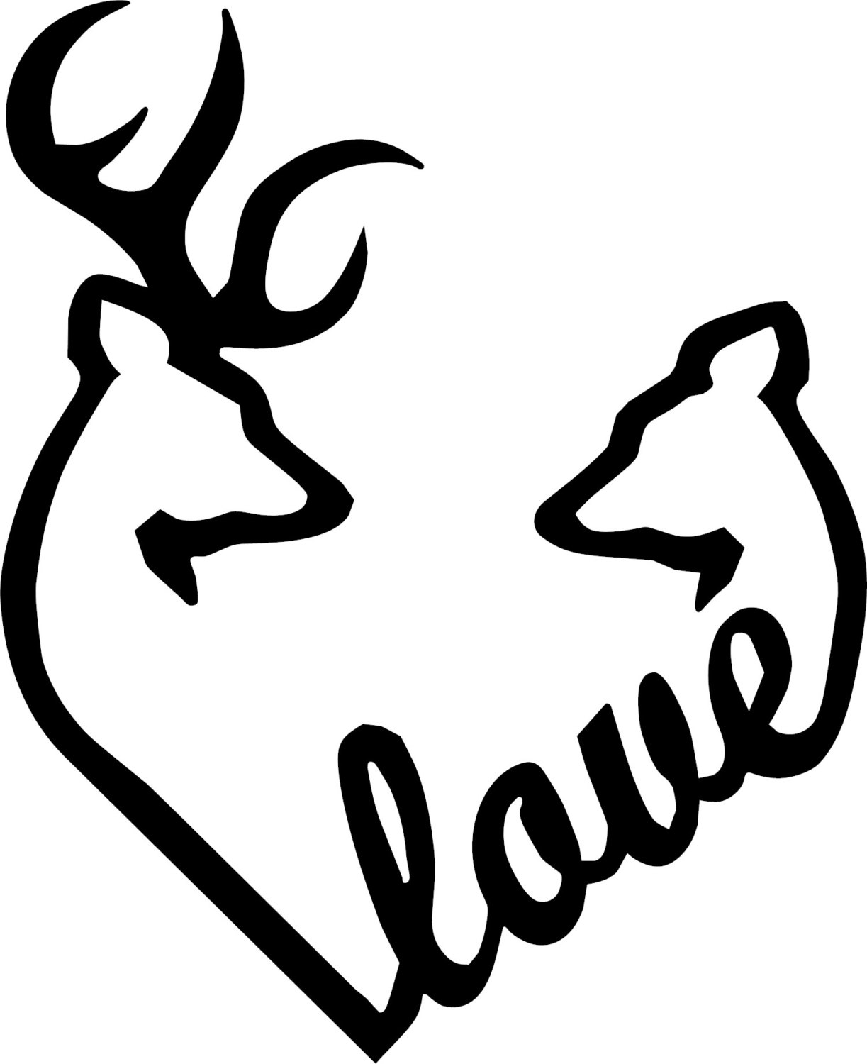 Browning Love Heart Deer Buck And Doe Vinyl Decal By Dinksplace