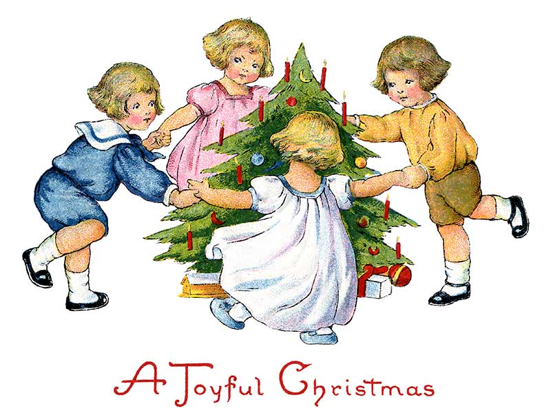 Children Dancing Around The Christmas Tree   Vintage Clip Art   The