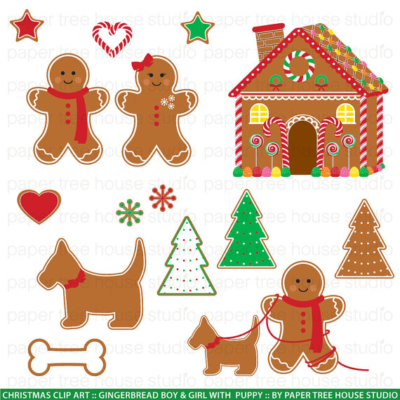 Clip Art Set   Gingerbread Boy Girl Puppy And House   Christmas