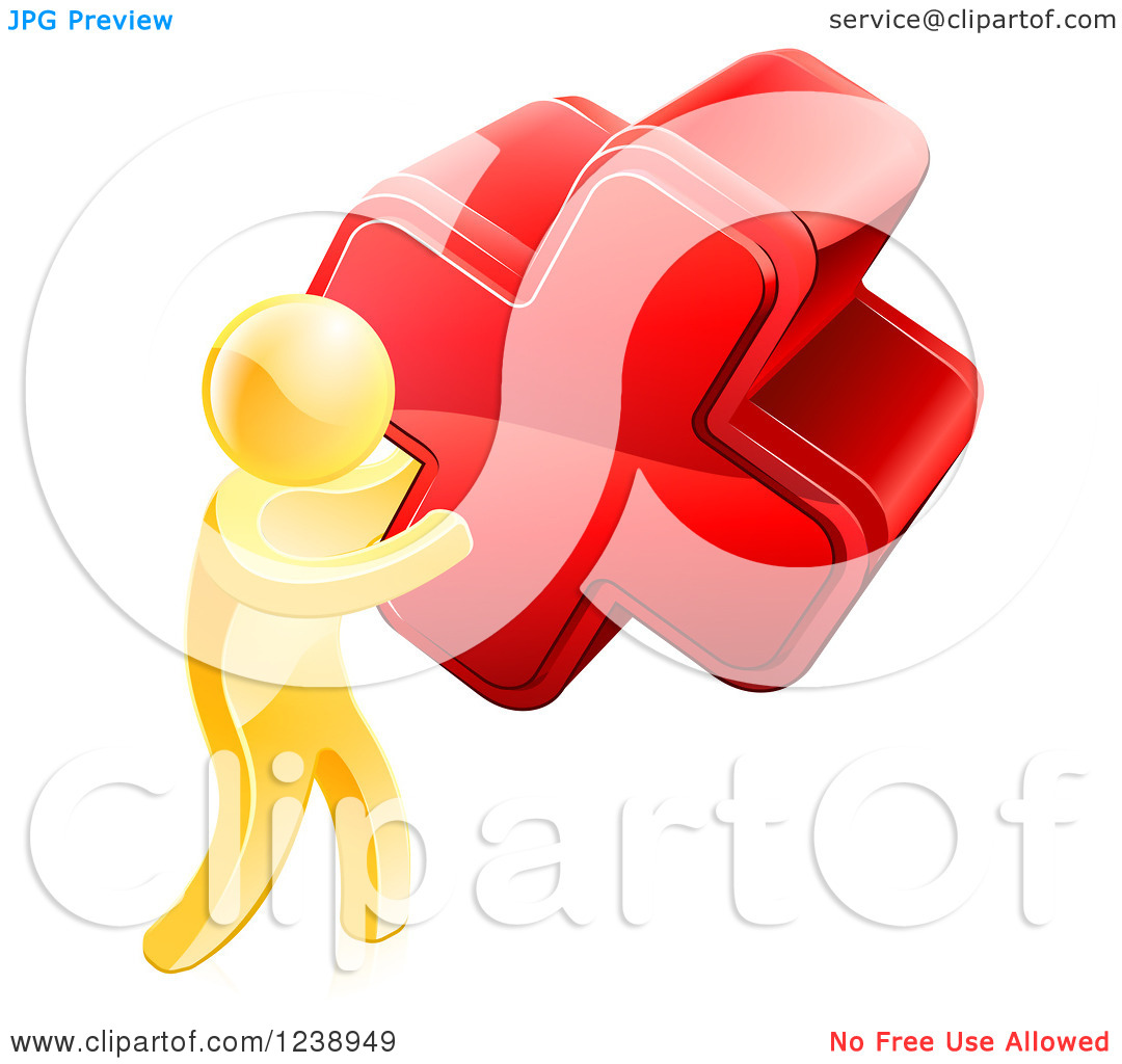 Clipart Of A 3d Gold Man Carrying A Giant Red Cross X   Royalty Free