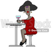 Clipart Of A Black Lady Drinking A Cocktail At A Table   Royalty Free