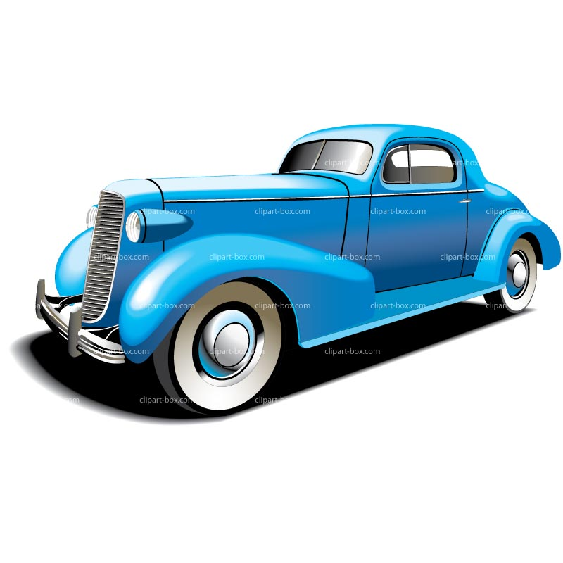 Clipart Vintage Blue Car   Royalty Free Vector Design
