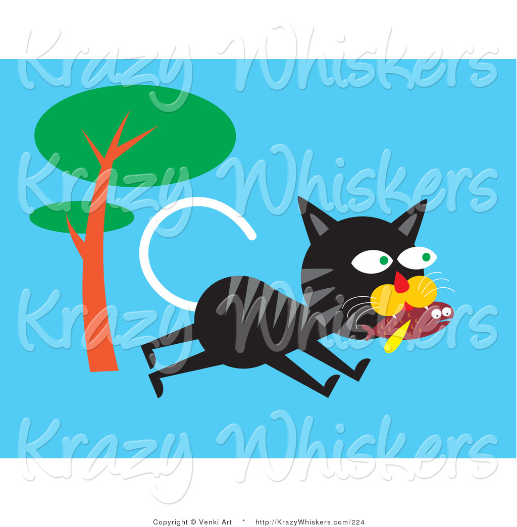 Critter Clipart Of A Hungry Black And Gray Alley Cat Running Past A