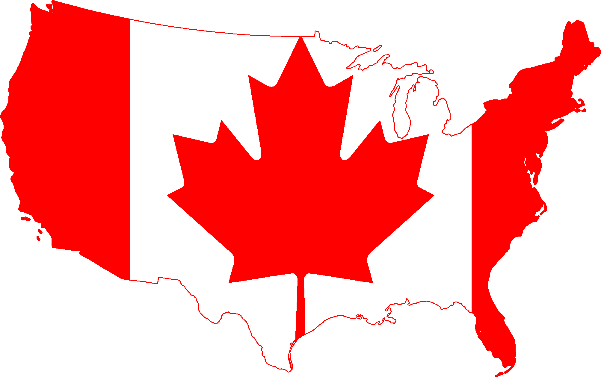 Canada And Usa Map Clipart Clipart Kid – States in Canada Map