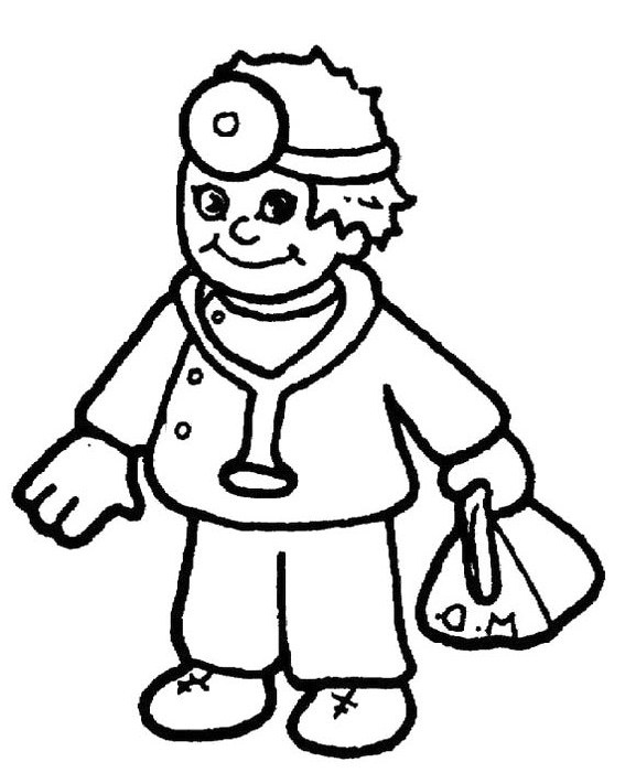 Doctor Day Coloring Pages   Doctor Carrying Equipment Bags