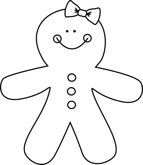 Gingerbread Girl Clip Art   Black And White Gingerbread Girl Image