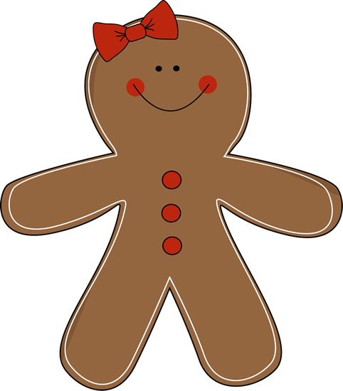 Gingerbread Girl Clip Art   Gingerbread Girl With A Red Bow On Her