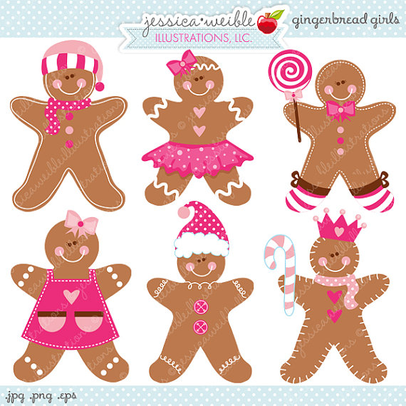 Gingerbread Girls Cute Digital Clipart   Commercial Use Ok