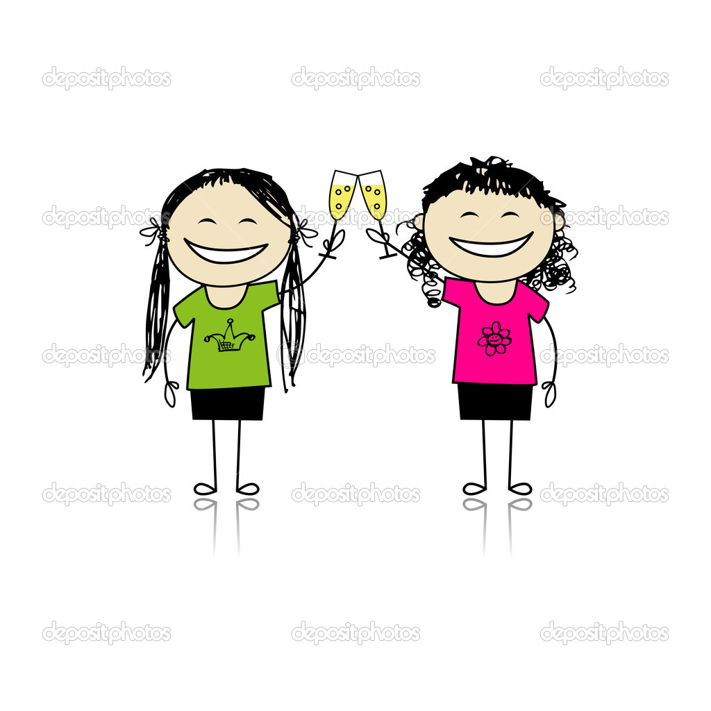 Girls Drink Wine  Party With Friends For Your Design   Stock Vector