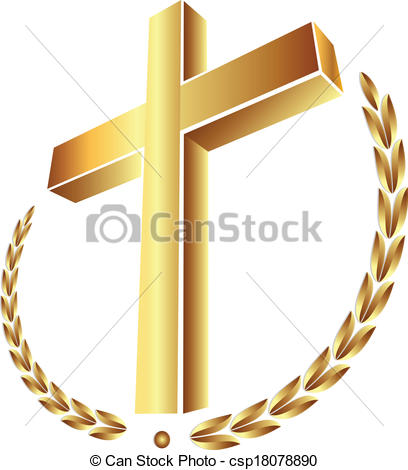 Gold Cross With Laurel Leafs Vector Graphic Design