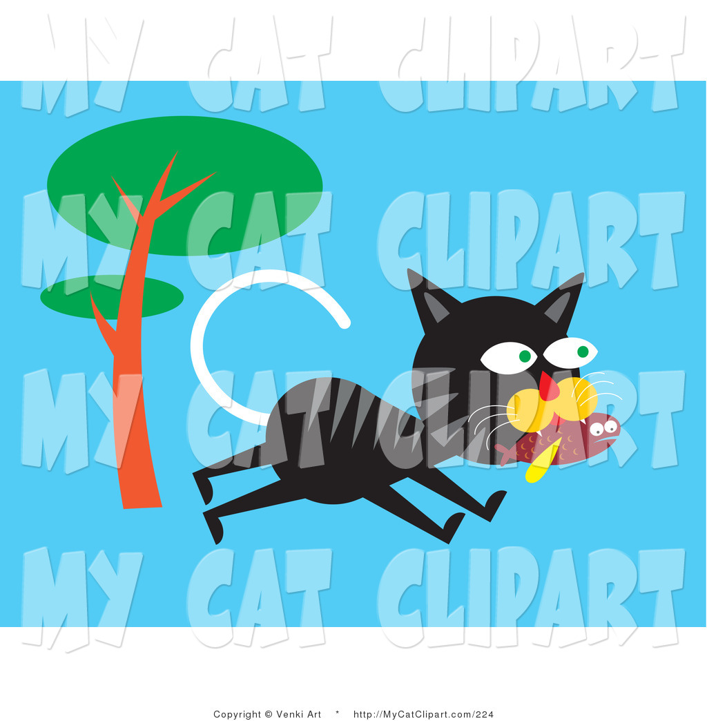 Larger Preview  Clip Art Of A Hungry Black And Gray Striped Alley Cat