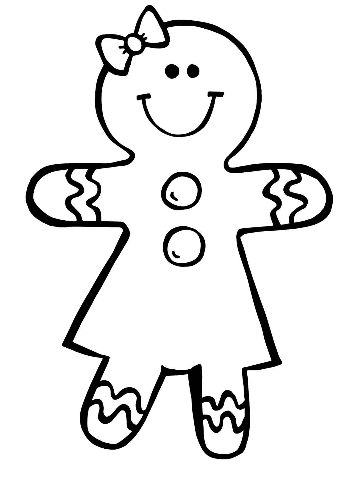 Gingerbread Man Black And White Clipart - Clipart Kid