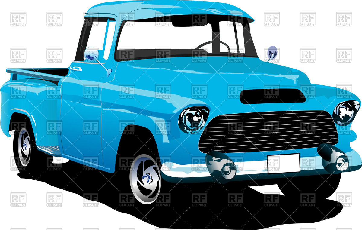 Old American Blue Pick Up Truck 55573 Download Royalty Free Vector