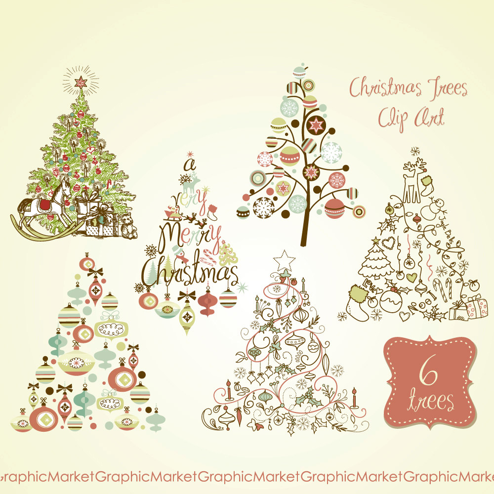 To Christmas Tree Clip Art Clipart Digital Set Card Retro Vintage