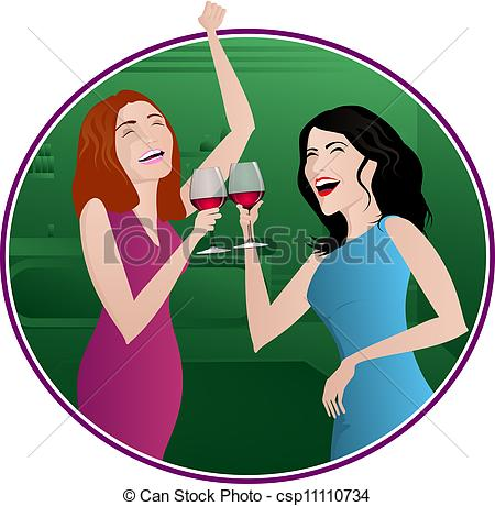 Vectors Of Girls Night Out   Two Women Laughing And Drinking Wine