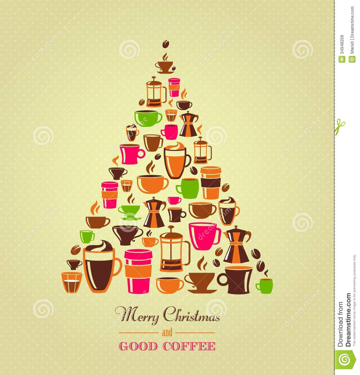 Vintage Christmas Tree Coffee Icons Royalty Free Stock Images   Image