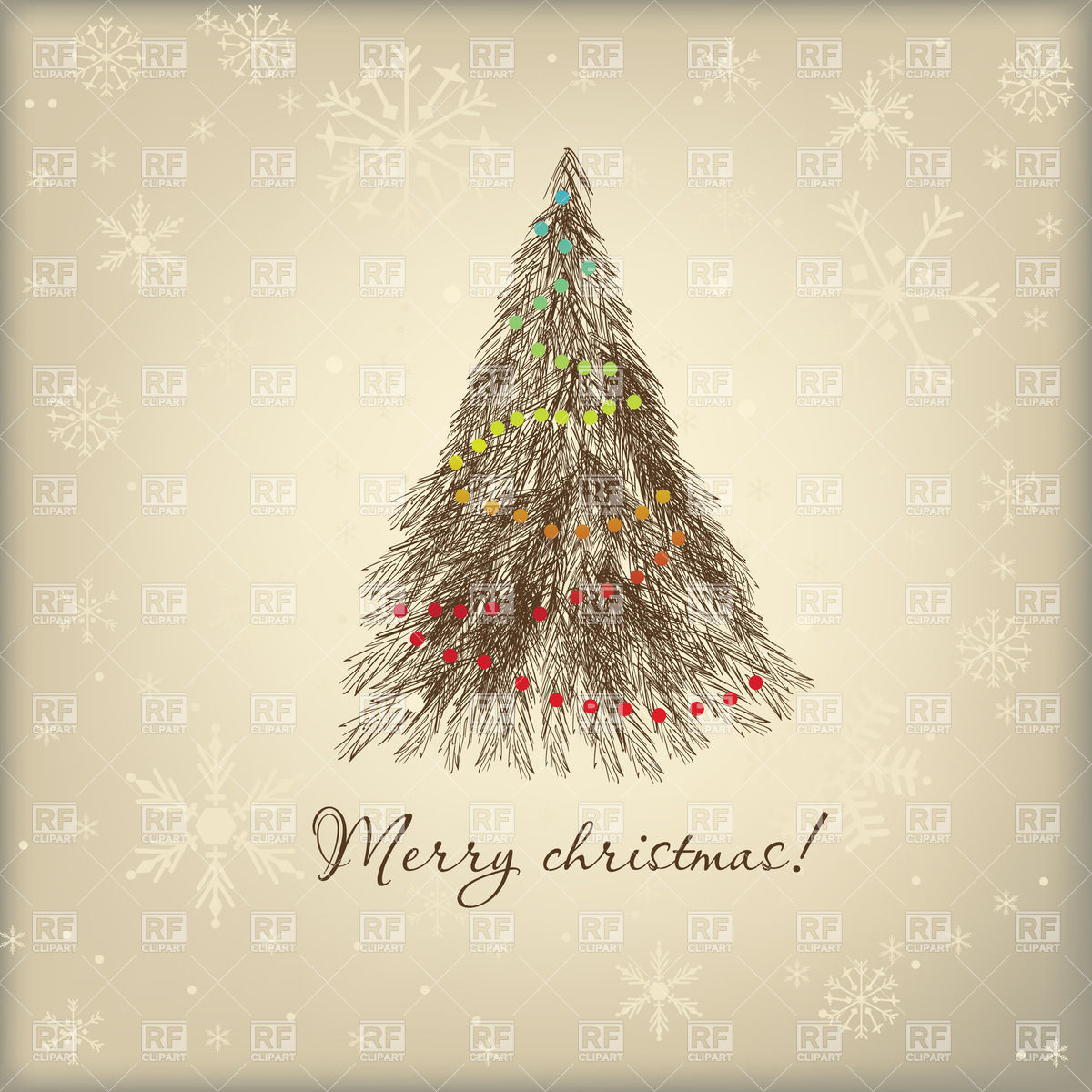 Vintage Looking Christmas Tree Download Royalty Free Vector Clipart
